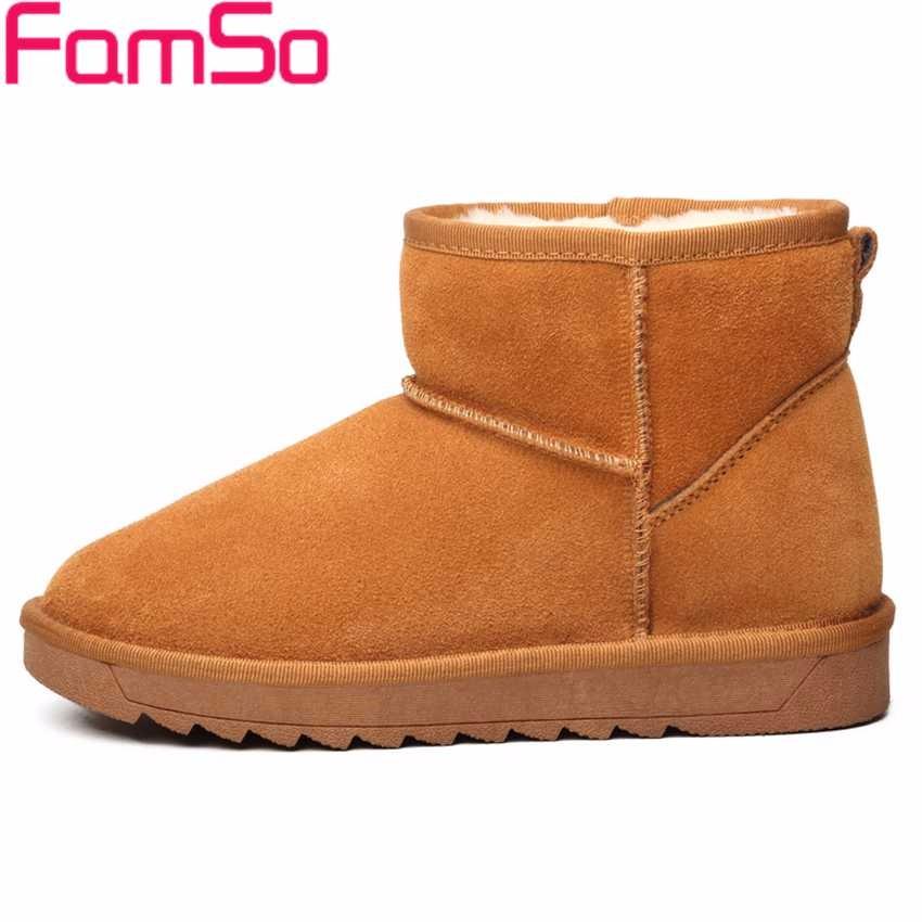 ซื้อ บิ๊กSize34-43 2016รองเท้าผู้หญิงแฟชั่นใหม่สีดำสีแดงออกแบบรองเท้าข้อเท้ารัสเซียหนังแท้รองเท้าหิมะขนSBT4184