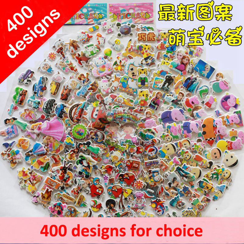 Promotion!100 sheets/lot Sofia Hello Kitty Minions Spiderman Pokemon 3D Foam Cartoon Amine Puffy Bubble Stickers for Kids(China (Mainland))