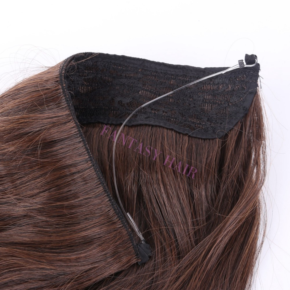 14 inch one piece light brown mixe dark brown hairpiece women long natural wave no clips synthetic flip in hair extensions-8