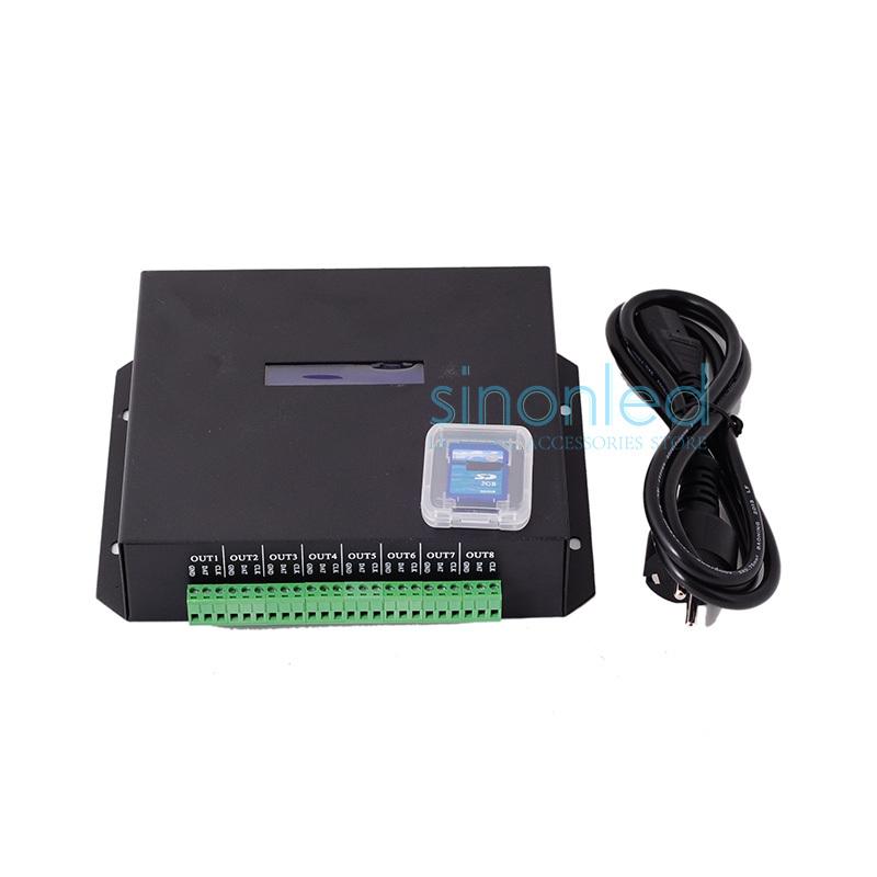T100K 8 ports*512pixels,4096pixels online Led Pixel DMX Controller Program by PC For WS2812 WS2811 1809 6803 WS2801 Pixels Strip(China (Mainland))