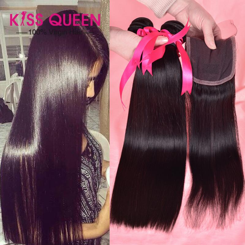 Unprocessed brazilian virgin hair 4 bundles with closure Brazilian virgin hair straight with closure cheap Human Hair weave soft<br><br>Aliexpress