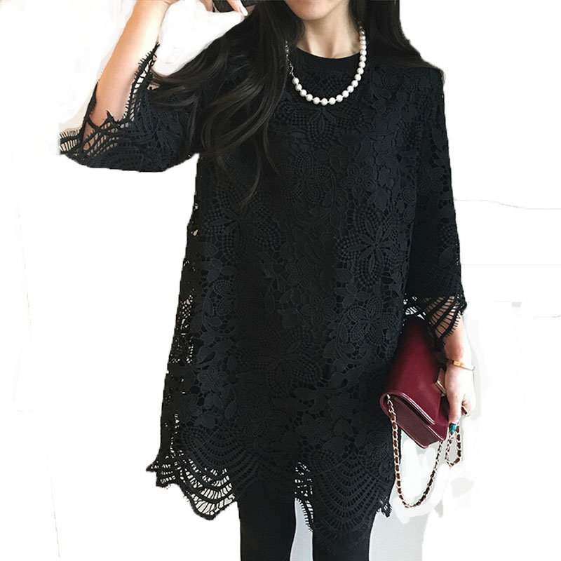 Women's cut out lace spring summer new Aline floral pattern sexy dresses black white()