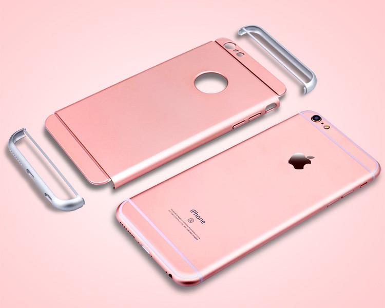 Luxury Removable 3 in 1 Hard Plastic Case For Iphone 6 6S 4.7 / Iphone 6 6S 5.5 Rose Gold Case Transparent Original Logo Circle