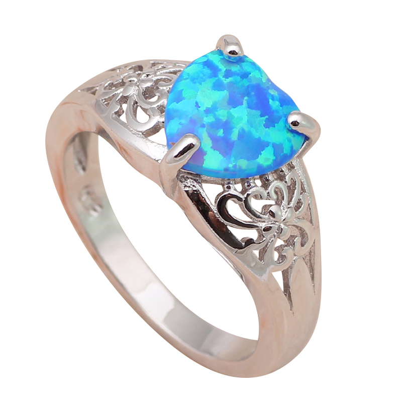 Heart Blue fire Opal Silver 925 sterling Rings for women fashion Opal wedding