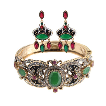 Vintage Turlish Women Earrings Bangles Sets Antique Gold Color Resin Flower Jewelry Earring&bangle Sets India Bridal Jewelry