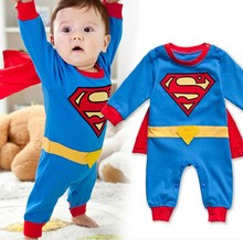 Baby romper 2014 cartoon superman cotton-padded baby body suit spring and autumn clothing kid newborn jumpsuit(China (Mainland))