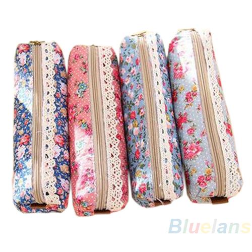 Fashion Mini Retro Flower Floral Lace Pencil Shape Pen Case Cosmetic Makeup Make Up Bag Zipper Pouch Purse 1DCS(China (Mainland))