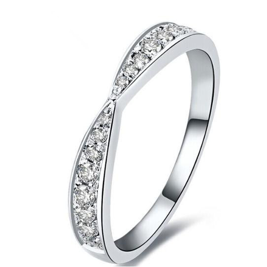Pretty Jewelry Wedding Bands for Women Genuine 925 Sterling Silver and Covered with White Gold promise Engagement Ring for Her(China (Mainland))