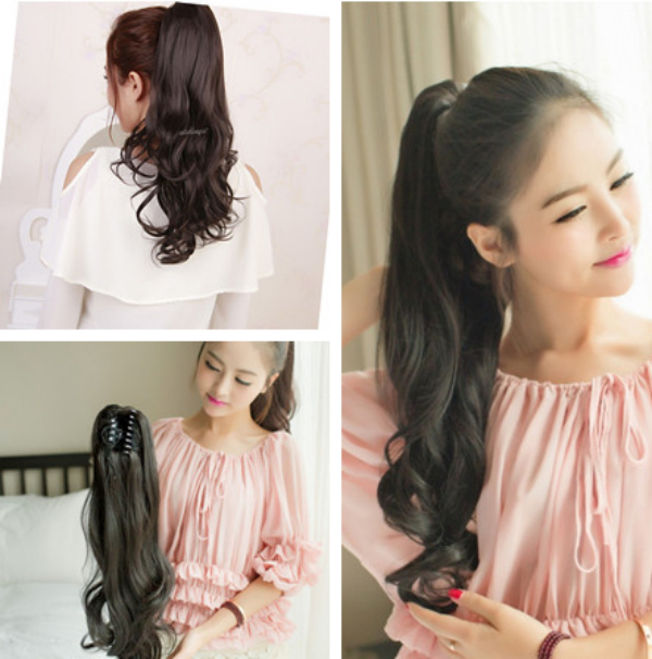 Long Wrap around ponytail pony tail hair extensions Wavy Style Claw on hair piece black brown blonde USA 3-5 DELIVERY DAY(China (Mainland))