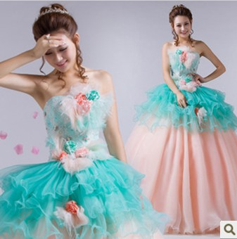 Fascinating Off the Shoulder Strapless Quinceanera Dresses Hand Made Flower Dacoration Ball Gowns Sweet Tulle Party Prom Gowns(China (Mainland))
