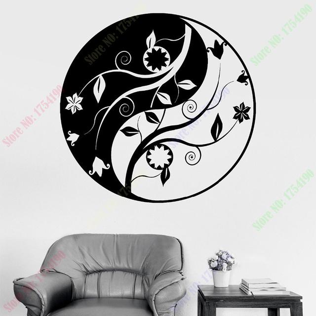Rose mandala vinyl wall sticker - Livraison Gratuite Bouddha Yin Yang Mandala Om Chakra Zen