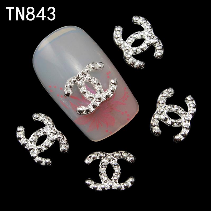 Blueness 10pcs lot 3D Alloy Brand Design Nail Art Glitter Decoration French Manicure Stud Crystal Strass
