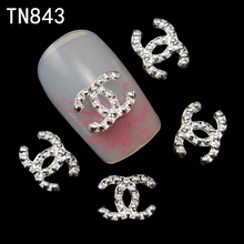 Blueness 10pcs/lot 3D Alloy Brand Design Nail Art Glitter Decoration French Manicure Stud Crystal Strass Supplies for Nail TN843