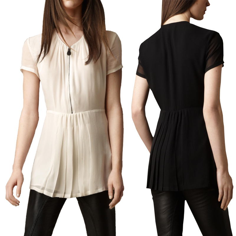 blusas femininas Fashion pure medium-long b short-sleeve silk top 2014 summer silk shirt femaleÎäåæäà è àêñåññóàðû<br><br>