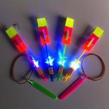 Outdoor Flying Disk Shining Rocket Flash Copter Arrow Helicopter Neon Led Light Amazing Elastic Powered LED Arrow Helicopter(China (Mainland))
