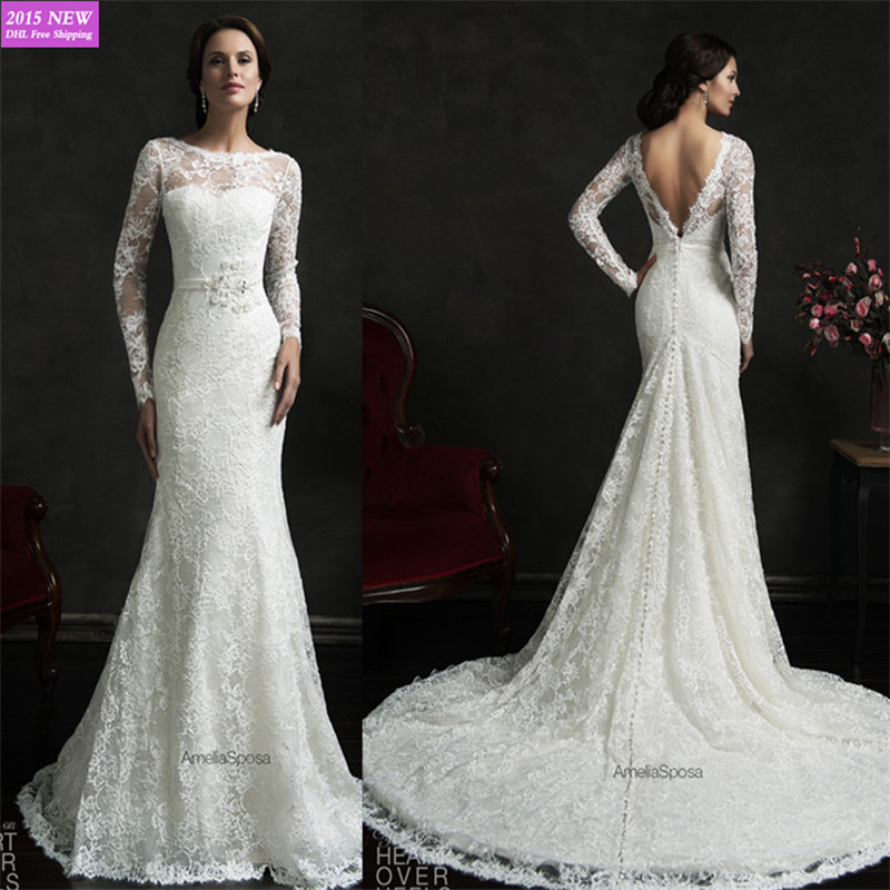 2015 elegant long sleeve backless france lace mermaid for Backless wedding dresses with sleeves