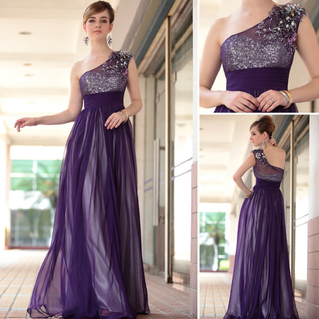 Dorisqueen hotsale2015new arrival elegant one shoulder floor length tulle beading applique sexy purple long  evening dress30653