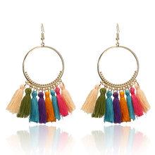 2018 Brincos Women Boho Drop Dangle 12 Colors Fringe Earring Vintage Ethnic Statement Tassel earrings fashion jewelry e0101(China)