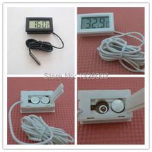 50% de descuento nuevo exterior Sensor de temperatura Digital LCD 1.5 V interior casa blanco negro Fish Tank Electronic Thermometre con 1 m sonda