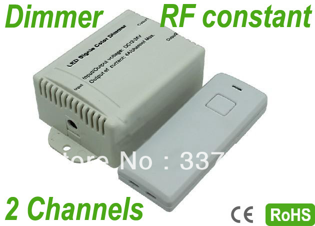 2 Channels Output LED Wireless RF Audio Constant Voltage 4A/channel Dimmer,Portable,RGB LED Controller,12V:<96W, 24V:<192W(China (Mainland))