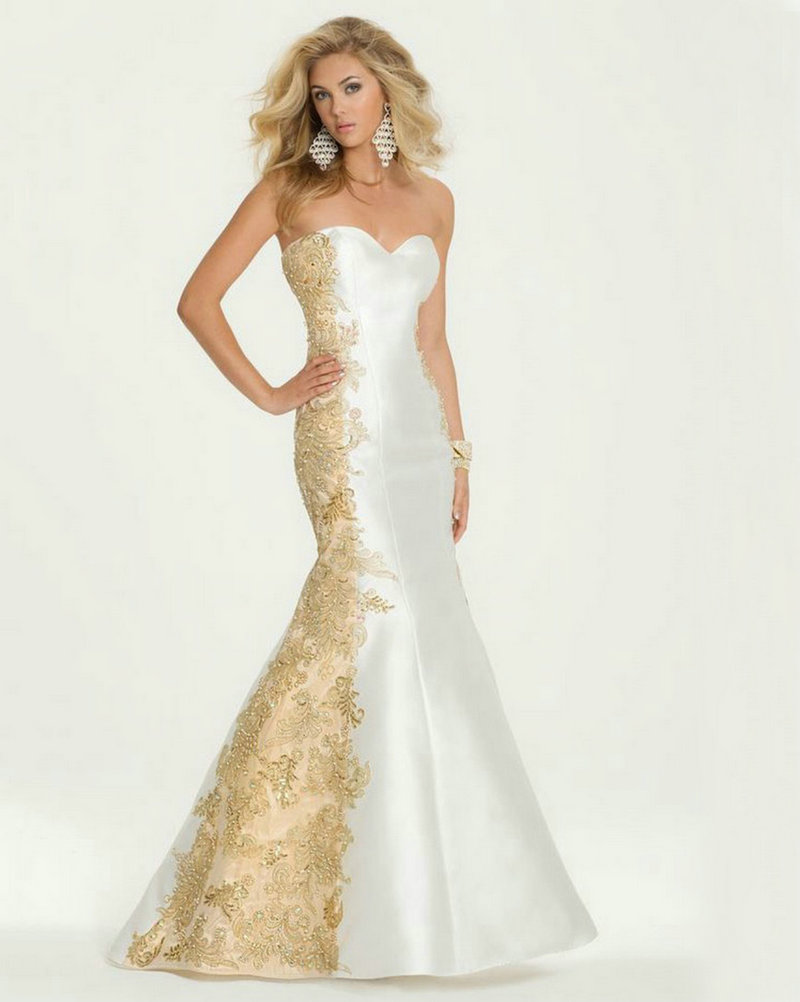 white and gold evening dress mermaid 2016 applique lace