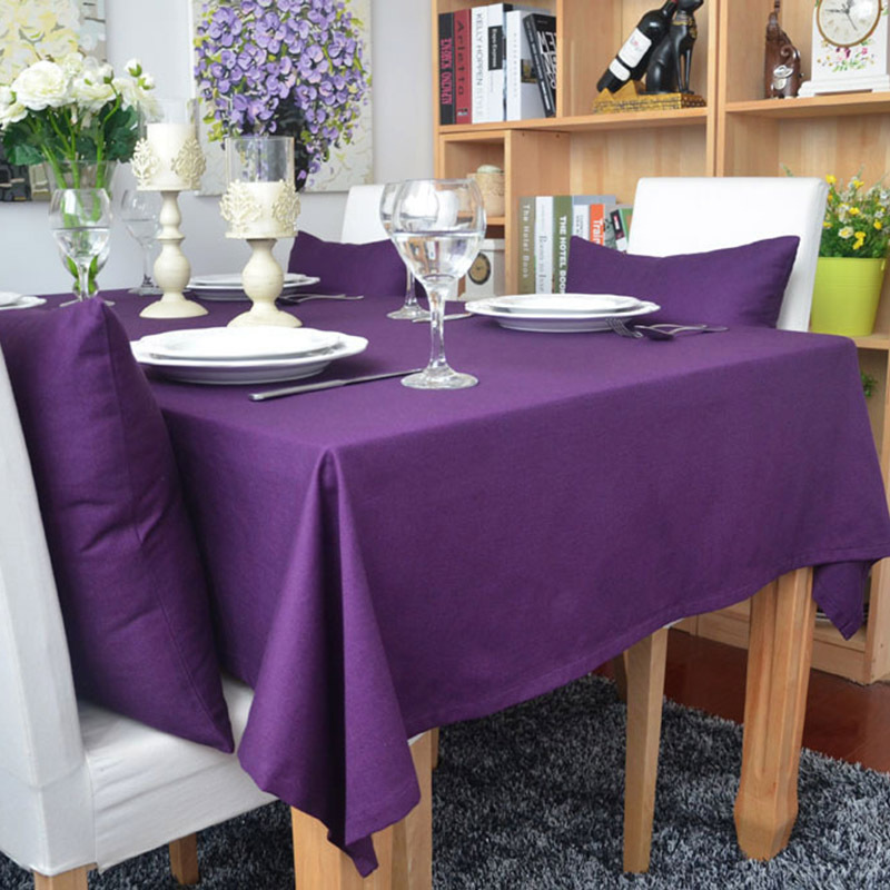 Bohemian style table cloth solid cotton household decoration square waterproof oilproof gray red black purple supply S4ZB002