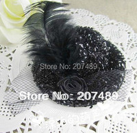 retail 7cm hair clips shiny bling Lady girls Kids Felt Mini Top Hat Fascinator colorful rose plume Hair Accessories decor whcn