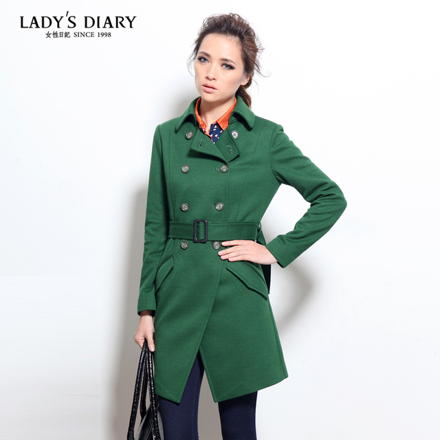 Female autumn 2013 diary women's top fashion trend preppy style slim double breasted trench outerwear