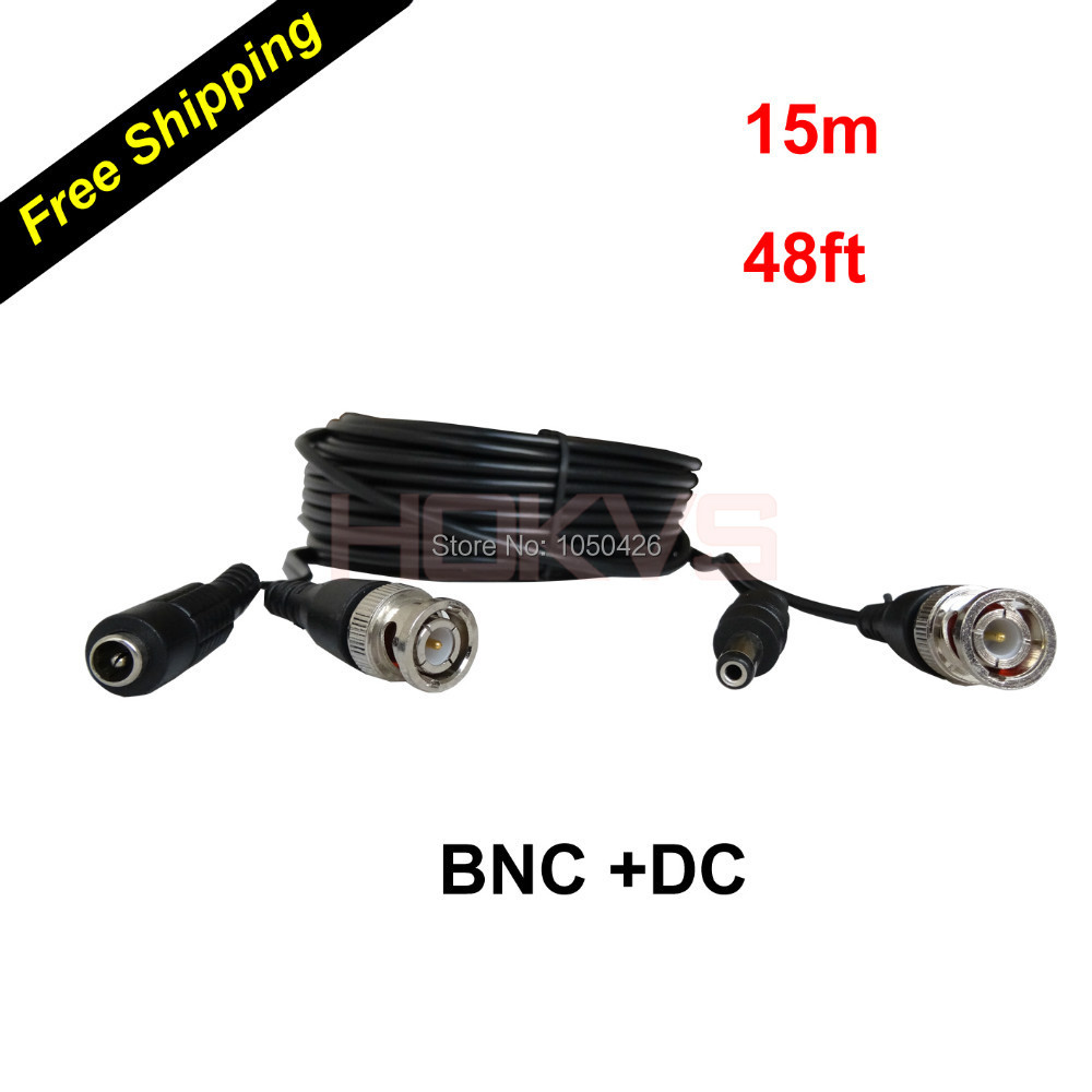 15Meters 48ft CCTV Accessories BNC Coaxial Cable with BNC DC Connector for Analog & AHD CCTV Camera DVR Security System(China (Mainland))