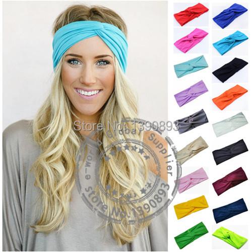 New 19 Color Sport Yoga Twist Headband Bandana hijab Turban Women Stretch Headwrap Turbante Hair Accessories Free Shipping A0406(China (Mainland))