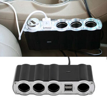 Free Shipping Auto Car 4 Way Multi Socket Cigarette Lighter Splitter USB Plug Adapter Charger New Dropping Shipping(China (Mainland))