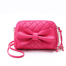 Candy Color Fashion Women Bag Chain Bow Pink Handbag PU Leather Shoulder Crossbody Bag Leisure Ladies Small Purse Bags Summer