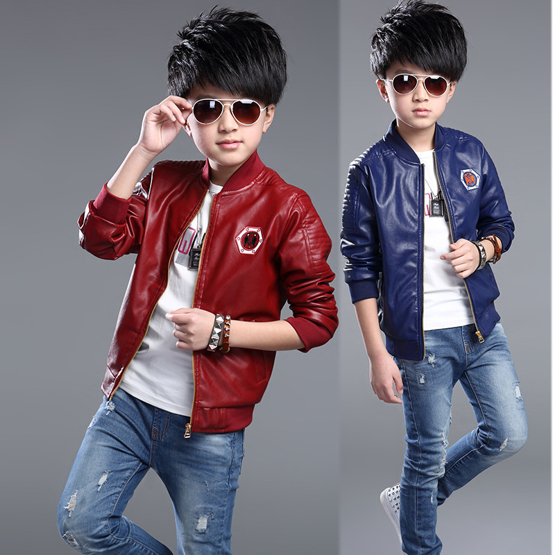 Baby Boys Leather Jacket Kids Girls And Coats Spring Kids Leather Jackets Boys Casual Black Solid Children Outerwear 2016 New(China (Mainland))
