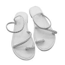 Sandalias de verano para mujer de talla grande MCCKLE con chanclas tejidas informales de playa con zapatos de estilo Roma sandalia femenina baja tacones(China)