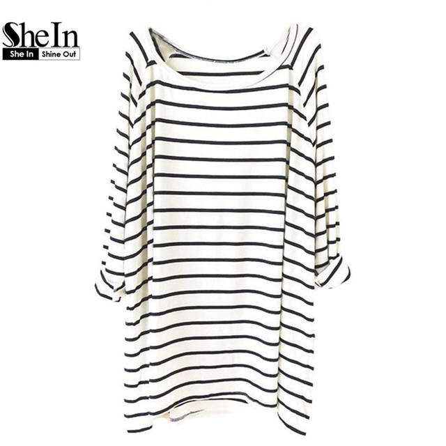 Shein новое поступление горячим верхом женская мода одежда в полоску тис свободного покроя белый черный с длинным рукавом шею прямо широкий футболки