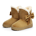 Bowknot Warm Women Flats Shoes Snow Women Boots Autumn Winter Shoes Fashion 2016 Flock Ankle Boots