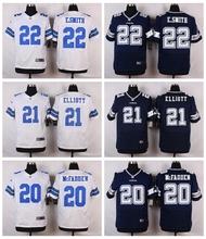 Dallas Cowboys #22 Emmitt Smith #21 Ezekiel Elliott #20 Darren McFadden Elite White and Navy Blue Team Color High quality(China (Mainland))