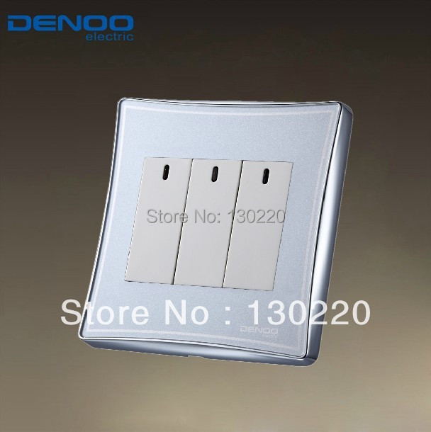 Free Shipping, Denoo Luxury Wall Light Switch Panel, Dancing, LED Panel, Tap switch, 110~250V, 3 Gang 1 way<br><br>Aliexpress