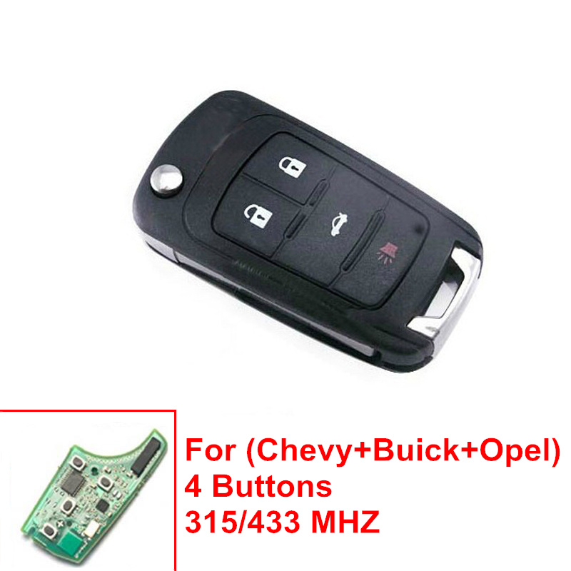 Flip Folding Remote Key 4 Buttons For Chevrolet 315/433MHZ HU100 Uncut Blade(China (Mainland))
