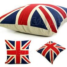 US Flag Cushion Covers Capa De Almofada Linen Cotton For Sofa Throw Pillows