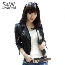 New Winter Women Motorcycle Leather Coat Jacket S-XXL size Diagonal Zipper Short Outerwear Coats 41(China (Mainland))