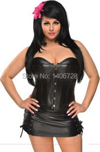 Womens sexy plus size corset Shaper  Mini Skirt Dress P006 Sexy Women Strapless Black Faux Leather Overbust Corset Dress