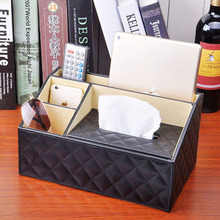Fashion Leather Car Tissue Storage Box Luxury PU Leather Remote Control Phone Holder Home Organizer Storage Boxes HG0017(China (Mainland))