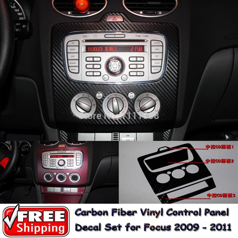 Carbon Fiber Vinyl Sticker Car CD Control Panel Sticker Special Designed for Ford Focus 2009 2010 2011(China (Mainland))