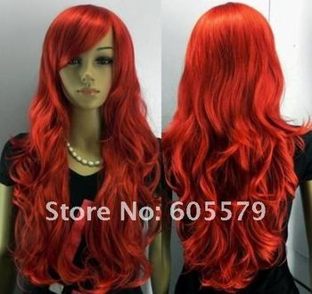 New Long Red Curly Hair Women's Full Wig
