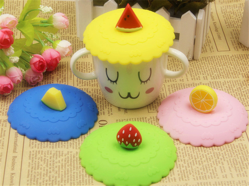 Fruit shape Lid Hight Quality Cute Creative Magic Silicone Cup Lid Environmental Safety Sealed Kids Gift(China (Mainland))