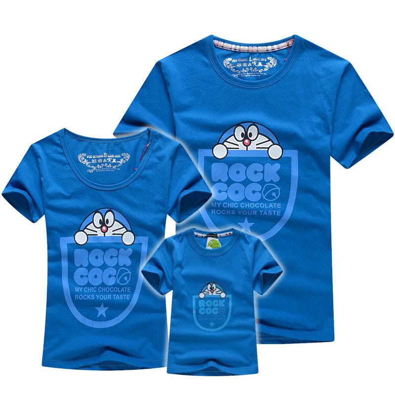 2015 summer doraemon family tees cotton shorts sleeved dad mum baby t shirts cotton kids clothes Fqz013(China (Mainland))