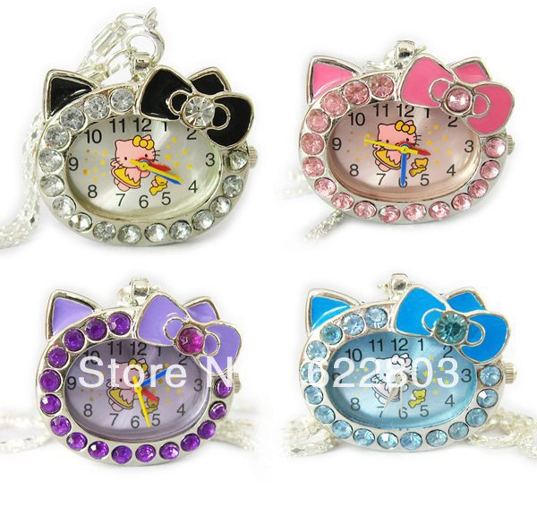 5pcs hot fashion Cat Face with Pink Diamond Hello Kitty Pocket Watch for gift(China (Mainland))