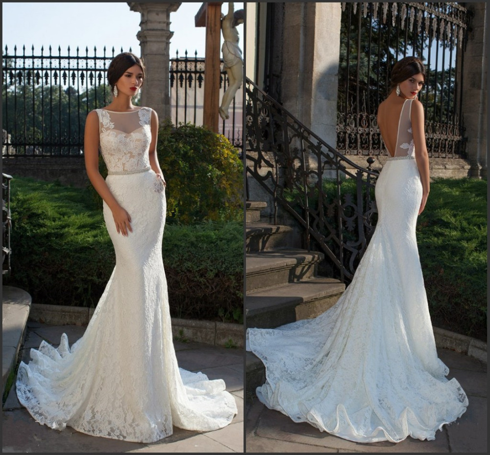 Bride fish tail wedding dress elegant lace mermaid wedding for White fishtail wedding dress