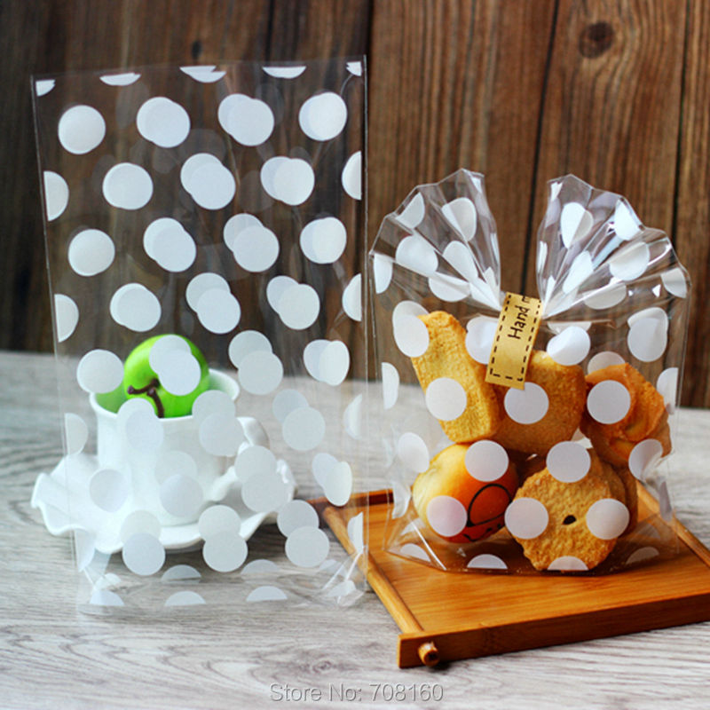 White polka dot open top cellophane bags cookie bags for Cookie bags for wedding
